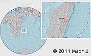 Gray Location Map of Moramanga, hill shading