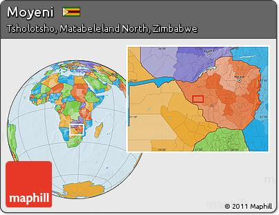 Free Political Location Map of Moyeni