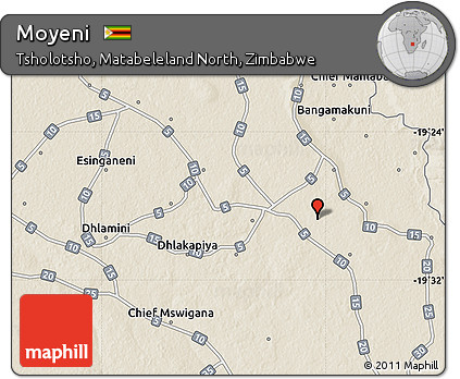 Free Shaded Relief Map of Moyeni