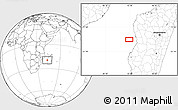 """Blank Location Map of the area around 19°32'24""""S,43°25'29""""E"""