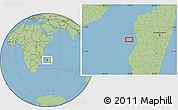 "Savanna Style Location Map of the area around 19°32'24""S,43°25'29""E"