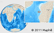 """Shaded Relief Location Map of the area around 19°32'24""""S,43°25'29""""E"""