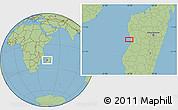 "Savanna Style Location Map of the area around 19°32'24""S,44°16'29""E"