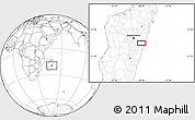 """Blank Location Map of the area around 19°32'24""""S,48°31'29""""E"""