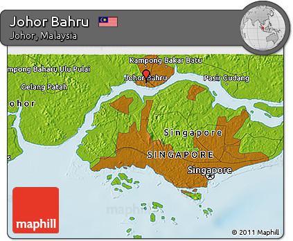 Free Physical 3D Map of Johor Bahru