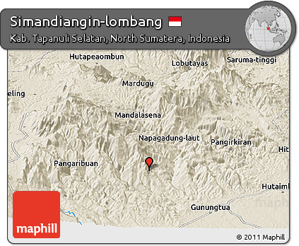 Shaded Relief Panoramic Map of Simandiangin-lombang
