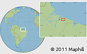 "Savanna Style Location Map of the area around 1°24'2""S,47°31'29""W"