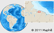 """Shaded Relief Location Map of the area around 1°24'2""""S,47°31'29""""W"""