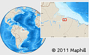 """Shaded Relief Location Map of the area around 1°24'2""""S,48°22'30""""W"""