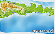 """Physical 3D Map of the area around 1°55'32""""S,125°1'30""""E"""