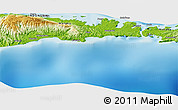 """Physical Panoramic Map of the area around 1°55'32""""S,125°1'30""""E"""