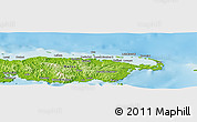 """Physical Panoramic Map of the area around 1°55'32""""S,147°7'30""""E"""
