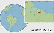 "Savanna Style Location Map of the area around 1°55'32""S,47°31'29""W"