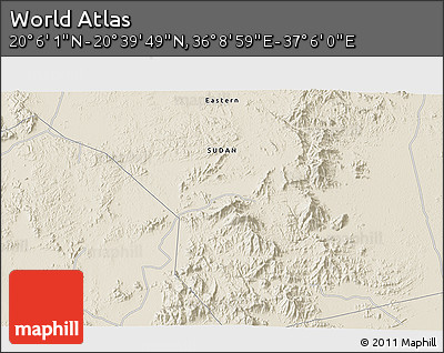 """Shaded Relief 3D Map of the Area around 20°22'55""""N,36°37'30""""E"""