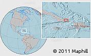 Gray Location Map of Baracoa, hill shading