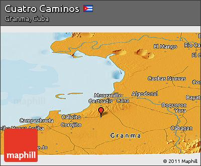 Political Panoramic Map of Cuatro Caminos
