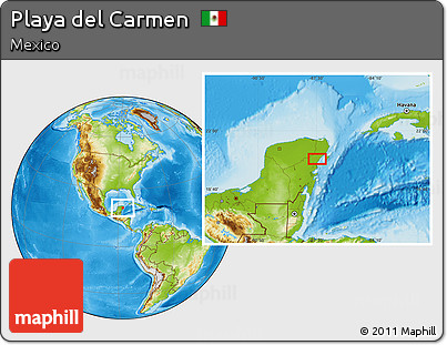 Free Physical Location Map of Playa Del Carmen