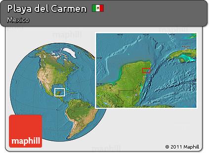 Free Satellite Location Map of Playa Del Carmen