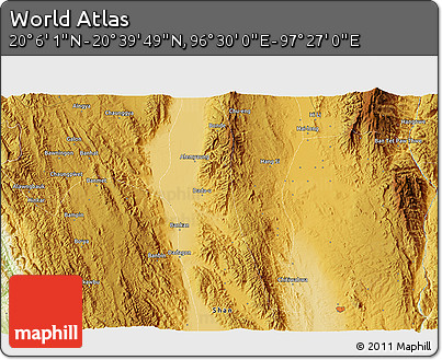 """Physical 3D Map of the Area around 20°22'55""""N,96°58'29""""E"""