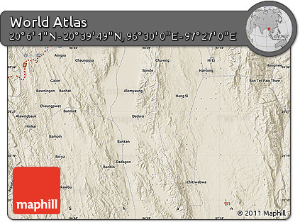 """Shaded Relief Map of the Area around 20°22'55""""N,96°58'29""""E"""