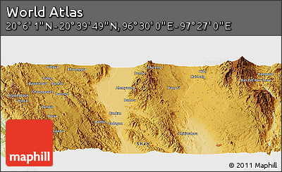"""Physical Panoramic Map of the Area around 20°22'55""""N,96°58'29""""E"""