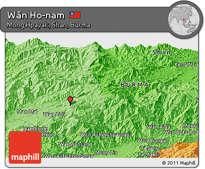 Political Panoramic Map of Wān Ho-nam