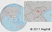 Gray Location Map of Ban Houaytha, hill shading