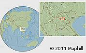 Savanna Style Location Map of Ban Houaytha, hill shading