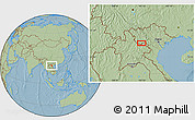 """Savanna Style Location Map of the area around 20°53'8""""N,103°46'30""""E, hill shading"""