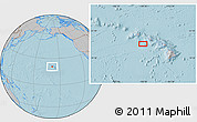 """Gray Location Map of the area around 20°53'8""""N,158°52'30""""W, hill shading"""