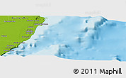 """Physical Panoramic Map of the area around 20°53'8""""N,86°37'30""""W"""