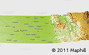 """Physical Panoramic Map of the area around 20°53'8""""N,96°7'30""""E"""