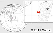 """Blank Location Map of the area around 20°2'43""""S,43°25'29""""E"""