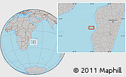 """Gray Location Map of the area around 20°2'43""""S,43°25'29""""E"""