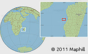 "Savanna Style Location Map of the area around 20°2'43""S,43°25'29""E"
