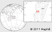 """Blank Location Map of the area around 20°2'43""""S,45°7'30""""E"""