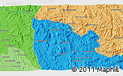 """Political 3D Map of the area around 20°2'43""""S,45°58'30""""E"""