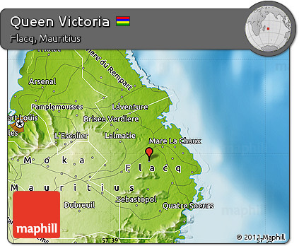 Free Physical Map of Queen Victoria