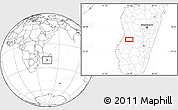 """Blank Location Map of the area around 20°32'59""""S,45°7'30""""E"""