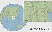 Savanna Style Location Map of Wān Hseninkiao, hill shading