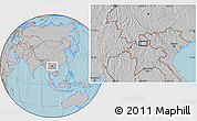 """Gray Location Map of the area around 21°23'18""""N,102°4'29""""E, hill shading"""