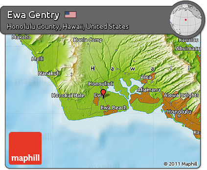 Free Physical Map of Ewa Gentry