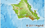 Physical Map of Honolulu
