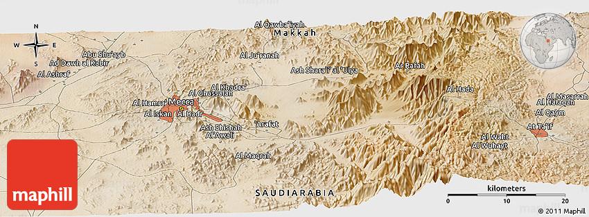 Satellite Panoramic Map of Mecca