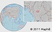 Gray Location Map of Zigon, hill shading