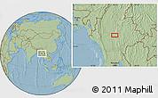 Savanna Style Location Map of Zigon, hill shading