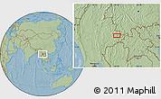 Savanna Style Location Map of Wān Hkun, hill shading