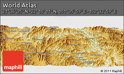 """Physical Panoramic Map of the Area around 21°53'23""""N,102°4'29""""E"""