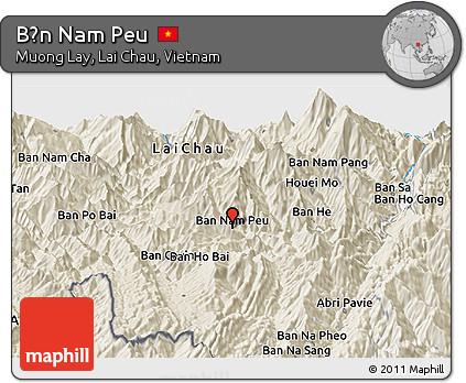 Shaded Relief Panoramic Map of Bản Nam Peu