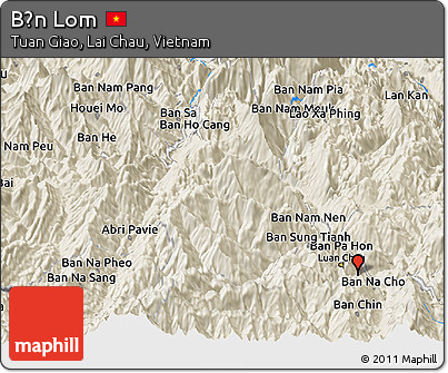 Shaded Relief Panoramic Map of Bản Lom